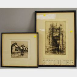 Lot of Two Framed Etchings:      Attributed to Alexander P. Thomson (Scottish, d. 1962), Old Houses...