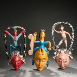 Three Ibibio Polychrome Carved Wood Face Masks