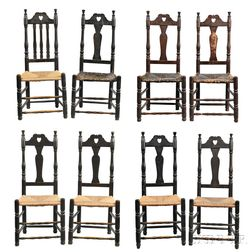 Assembled Set of Eight Black-painted Heart and Crown Side Chairs