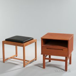 Mid-Century Side Stand and an Ottoman