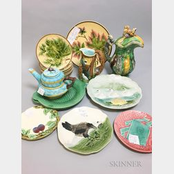 Seventeen Continental Majolica Ceramic Tableware Items