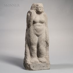 Limestone Scultpture of Standing Female Figure