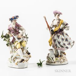 Two Meissen Porcelain Figures of a Shepherd and Shepherdess