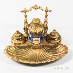 Paris Porcelain and Gilt-bronze-mounted Inkstand