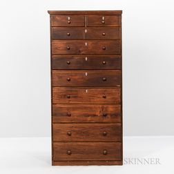 Shaker Butternut Trustees Chest of Ten Drawers