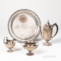 Four-piece Shreve, Crump & Low Co. Sterling Silver Tea Set with Tray