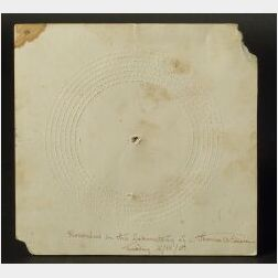 Rare Repeating Telegraph Disk Signed by Thomas A. Edison