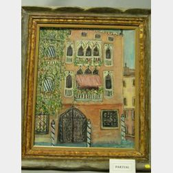 Lot of Two Framed Oil View Including Venice and Greek Island