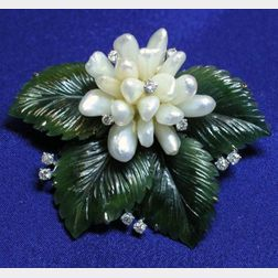 Nephrite Jade, Diamond and Freshwater Pearl Brooch