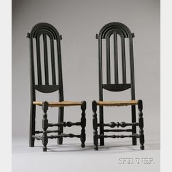 Pair of Carved and Turned Black-painted Maple Side Chairs