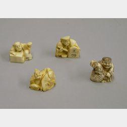 Four Ivory Netsuke Figures