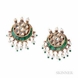 Indian Enamel and Gem-set Earrings