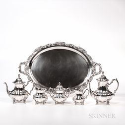 Poole Five-piece Lancaster Rose Pattern Sterling Silver Tea and Coffee Service with Tray