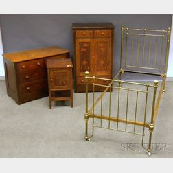 Three-piece Arts & Crafts Inlaid and Carved Oak Bedroom Set and a Brass Twin Bed
