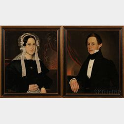 American School, 19th Century      Pair of Portraits of Mr. Henry L. McNeil and His Wife Martha, of Connecticut.