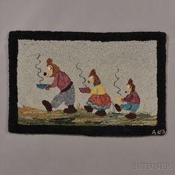 """Wool Hooked Rug with """"Three Bears"""" Storybook Characters"""
