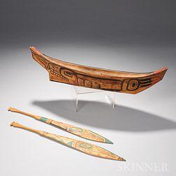 Northwest Coast Carved Wood Canoe Model and Two Paddles