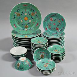 Chinese Famille Rose and Turquoise Partial Dinner Set