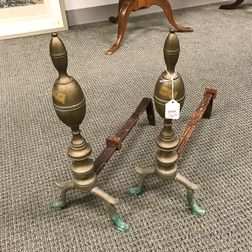 Pair of Federal-style Brass Lemon-top Andirons