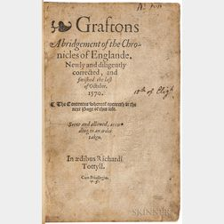 Grafton, Richard (1572?) Graftons Abridgement of the Chronicles of Englande.