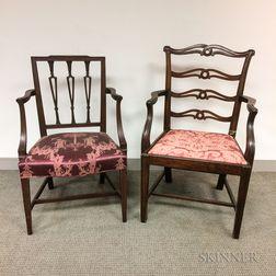 Two George III Mahogany Open Armchairs