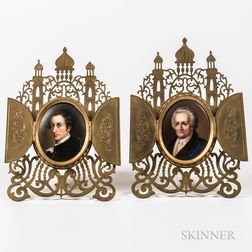 Pair of Porcelain-mounted Brass Frames