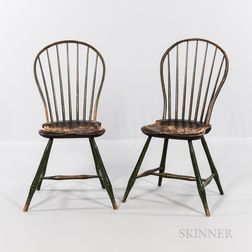 Set of Five Painted Windsor Side Chairs