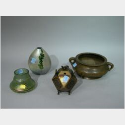 Two Asian Bronze Incense Burners and Two European Art Glass Vases.