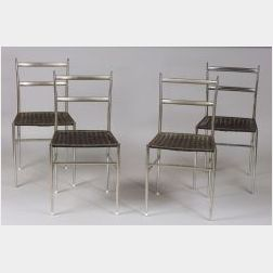 Eight Chromed Metal Chairs