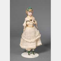 Hatted Wax Over Composition Shoulder Head Lady Doll