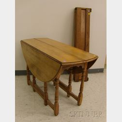 William & Mary Style Maple and Tiger Maple Drop-leaf Gate-leg Table
