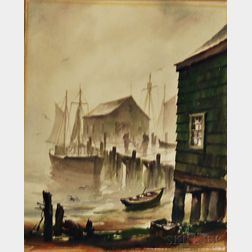 John Cuthbert Hare (American, 1908-1978)      Dock Scene, Provincetown