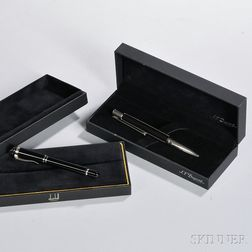 Dunhill and Dupont Rollerball Pens, London and Paris, a Dunhill Sentryman Mini in black resin with palladium plated trim, and a S.T.