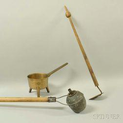 Bronze Posnet, an Oil Lamp, and a Small Garden Hoe