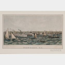 Framed Lithograph of Newport, Rhode Island, Harbor