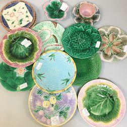 Fourteen Majolica Ceramic Tableware Items