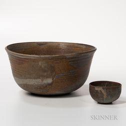 Toshiko Takaezu (1922-2011) Art Pottery Bowl and Tea Bowl