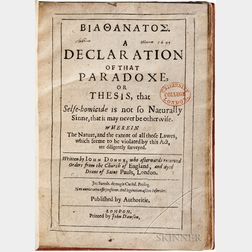 Donne, John (1572-1631) Biathanatos. A Declaration of that Paradoxe, or Thesis, that Selfe-homicide is not so Naturally Sinne, that it