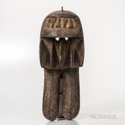 Dan-style Carved Wood Animal Mask
