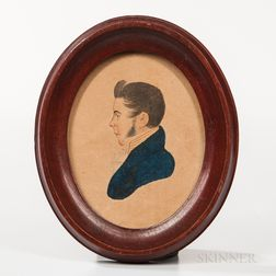 American School, Mid-19th Century       Miniature Portrait of a Man in a Blue Jacket