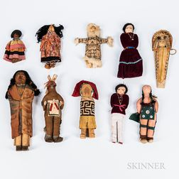 Group of Ten Indian Dolls