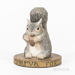 Carved and Painted Figure of a Delmarva Fox Squirrel