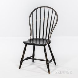 Black-painted and Paint-decorated Bamboo-turned Bow-back Windsor Side Chair