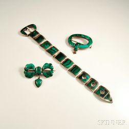 Three Pieces of Sterling Silver and Malachite Victorian Jewelry
