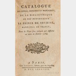 Book Auction Catalog. Soubise, Prince of, Charles de Rohan (1715-1787)