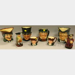 Eight Royal Doulton Ceramic Character and Toby Jugs
