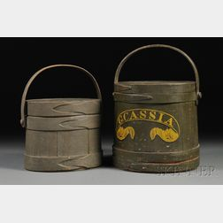 Two Painted Wooden Firkins
