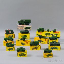 Thirteen Meccano Dinky Toys Die-cast Metal Military Vehicles