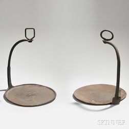 Two Cast Iron Half-handled Hanging Griddles