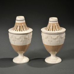 Pair of Staffordshire Creamware Potpourri Urns and Covers